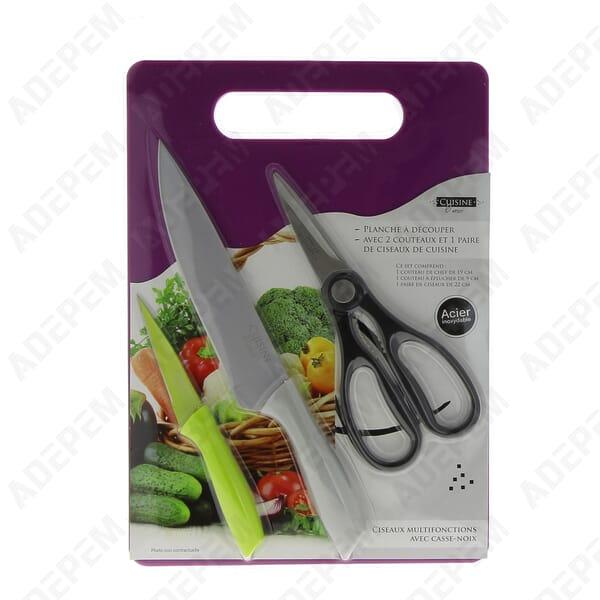 Planche a decouper + couteaux / ciseaux + APPAREIL